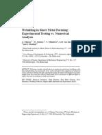 Wrinkling in Sheet Metal Forming:Experimental Testing vs. NumericalAnalysis-IJFP Journal 2003 Selman2