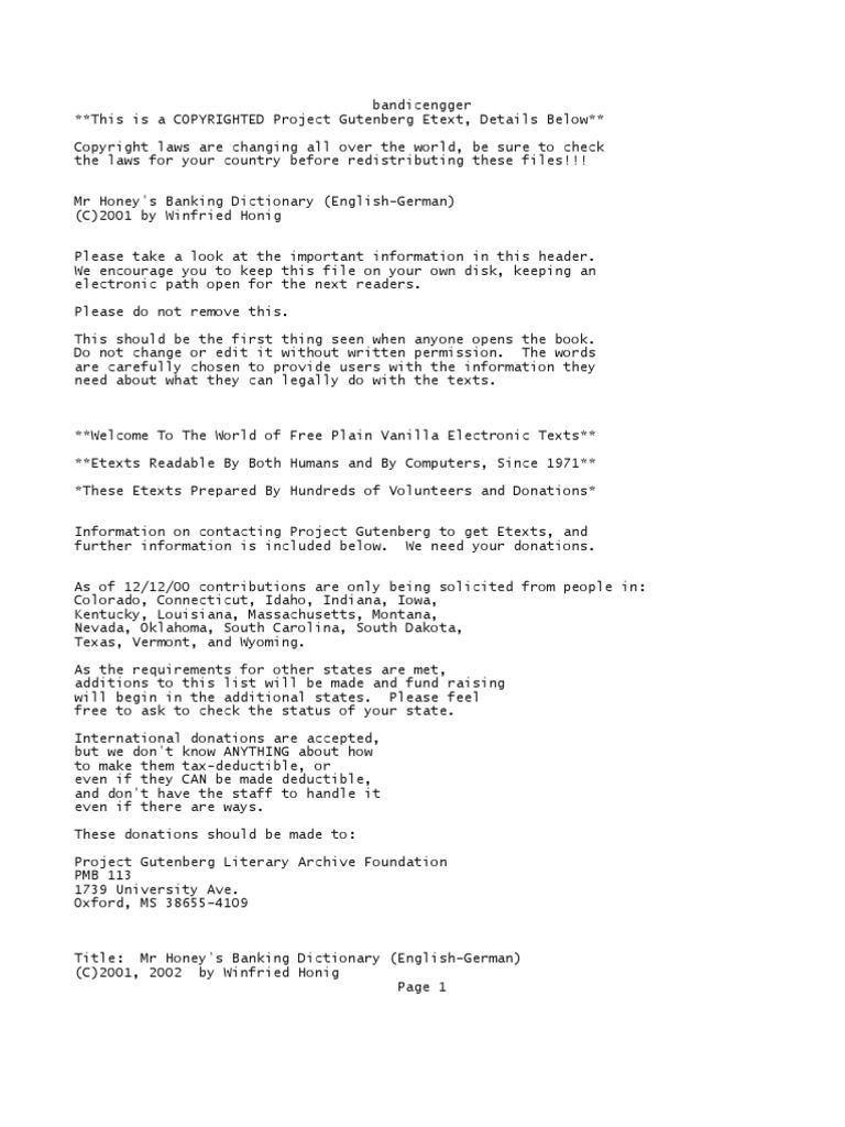 bankingdicengger | Project Gutenberg | E Text