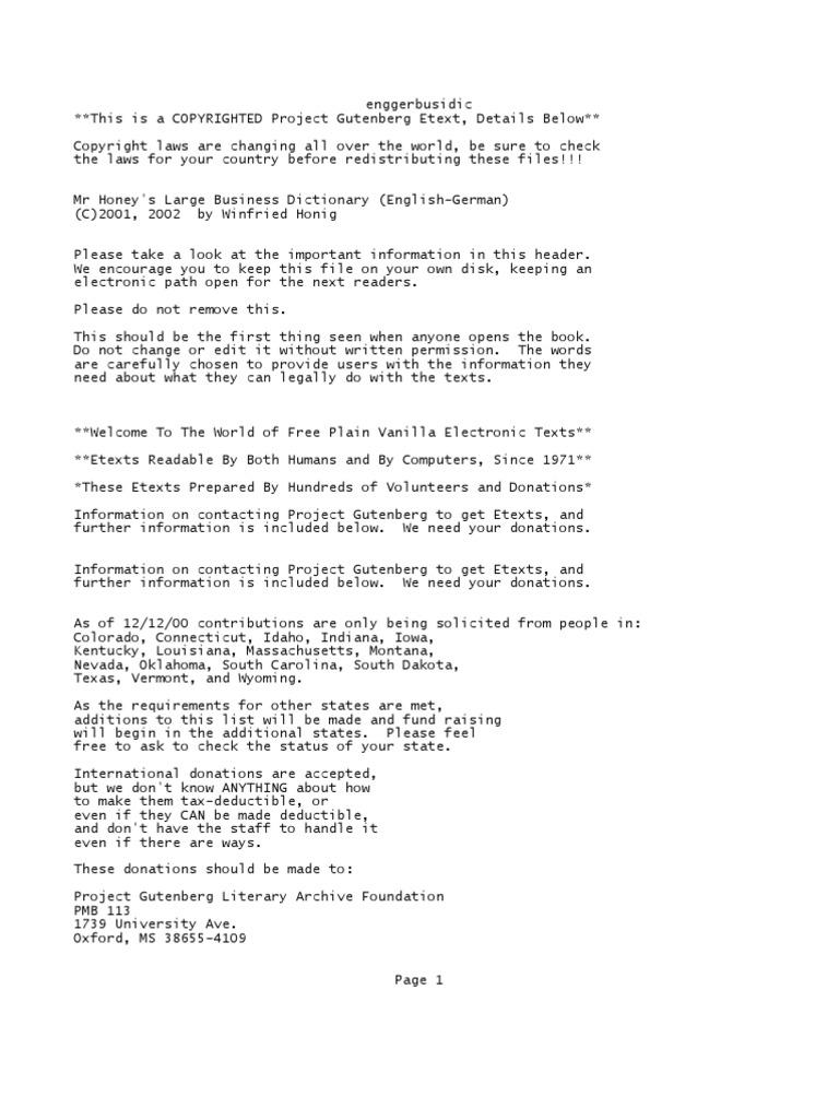 Enggerbusidic Project Gutenberg E Text