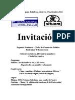 Invitacion conferencia en el Sindicato Universidad Autónoma Metropolitana.