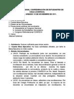 Acta CONFECH, UBB Chillán. 19 Noviembre