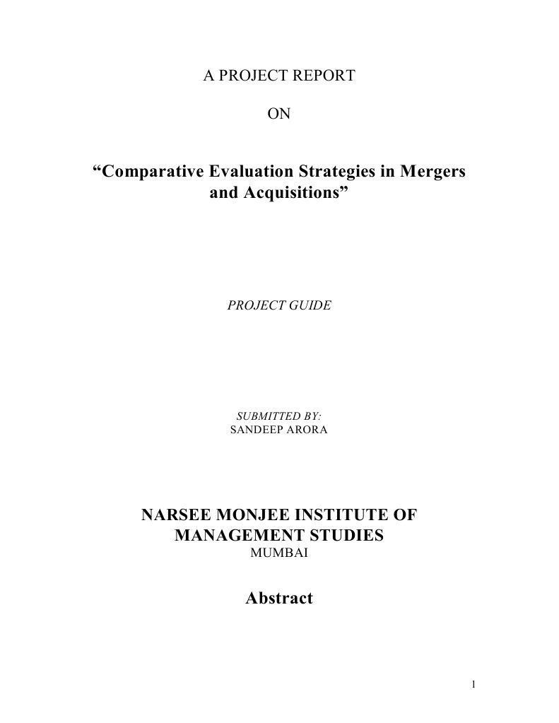 synopsis on merger and acquisition