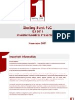 Sterling Bank Q3 2011 Investor and Creditor Presentation