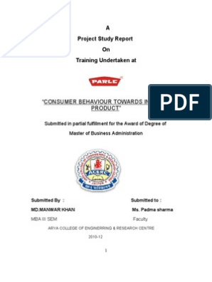 project report of parle product   Research Design   Consumer