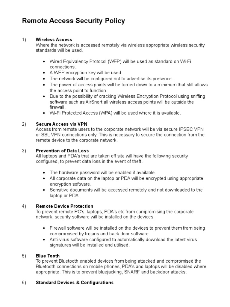 Remote Access Policy Word Template   Computer Security   Online ...