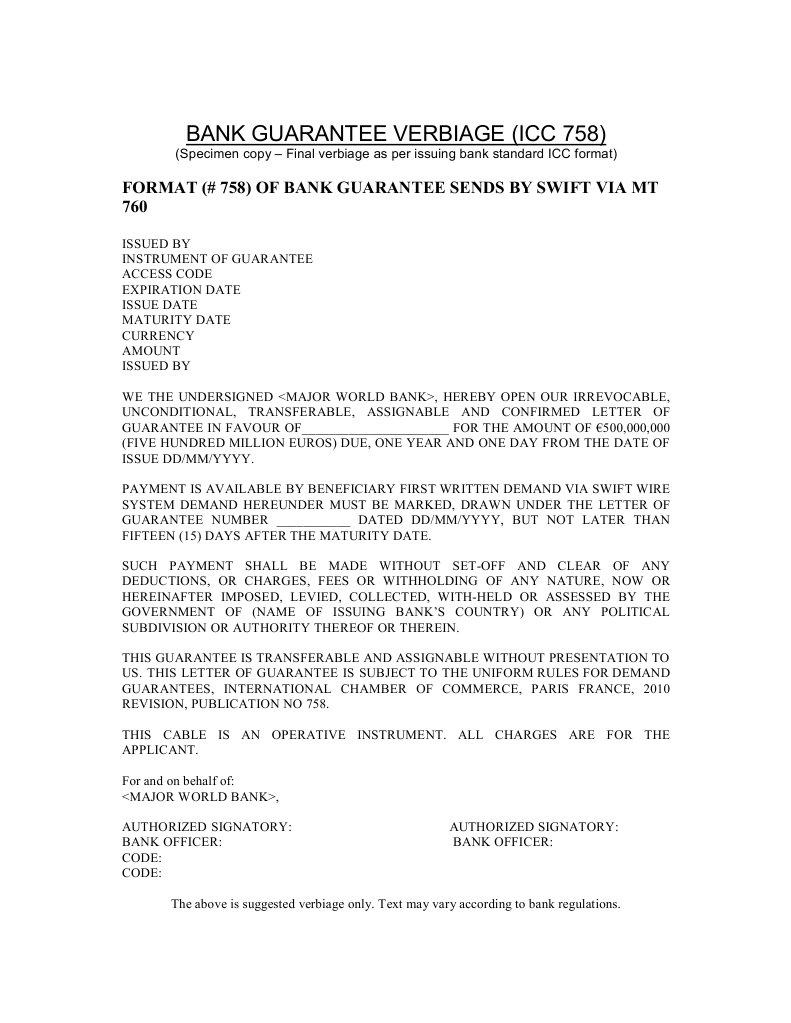 Letter Format For Bank Guarantee.  Bank Guarantee Verbiage Icc 758