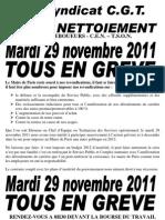 Le 29 novembre 2011 tous en grève et différents comuniqués… de la CGT