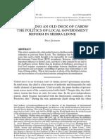 Sierra Leone- Politics of Local Government