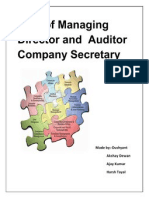 Role of Managing Director and Auditor Company Secretary