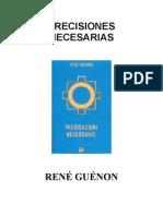 Rene Guenon. Precisiones Necesarias
