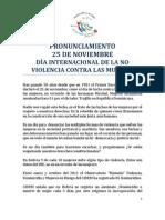 PRONUNCIAMIENTO 25 DE NOVIEMBRE DÍA INTERNACIONAL DE LA NO VIOLENCIA CONTRA LAS MUJERES