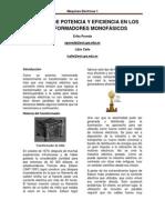 PERDIDAS DE POTENCIA Y EFICIENCIA EN LOS TRANSFORMADORES MONOFÁSICOS