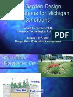Michigan; Rain Garden Design Specifications for Michigan Conditions