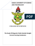 The Study of Magnetic Fields Outside Straight Current Carrying Conductors