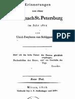 Erinnerungen von einer Reise nach St. Petersburg im Jahr 1814 von Ulrich Freyherrn von Schlippenbach. Erster Theil.