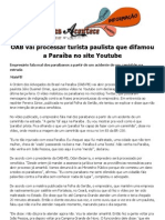 OAB vai processar turista paulista que difamou a Paraíba no site Youtube