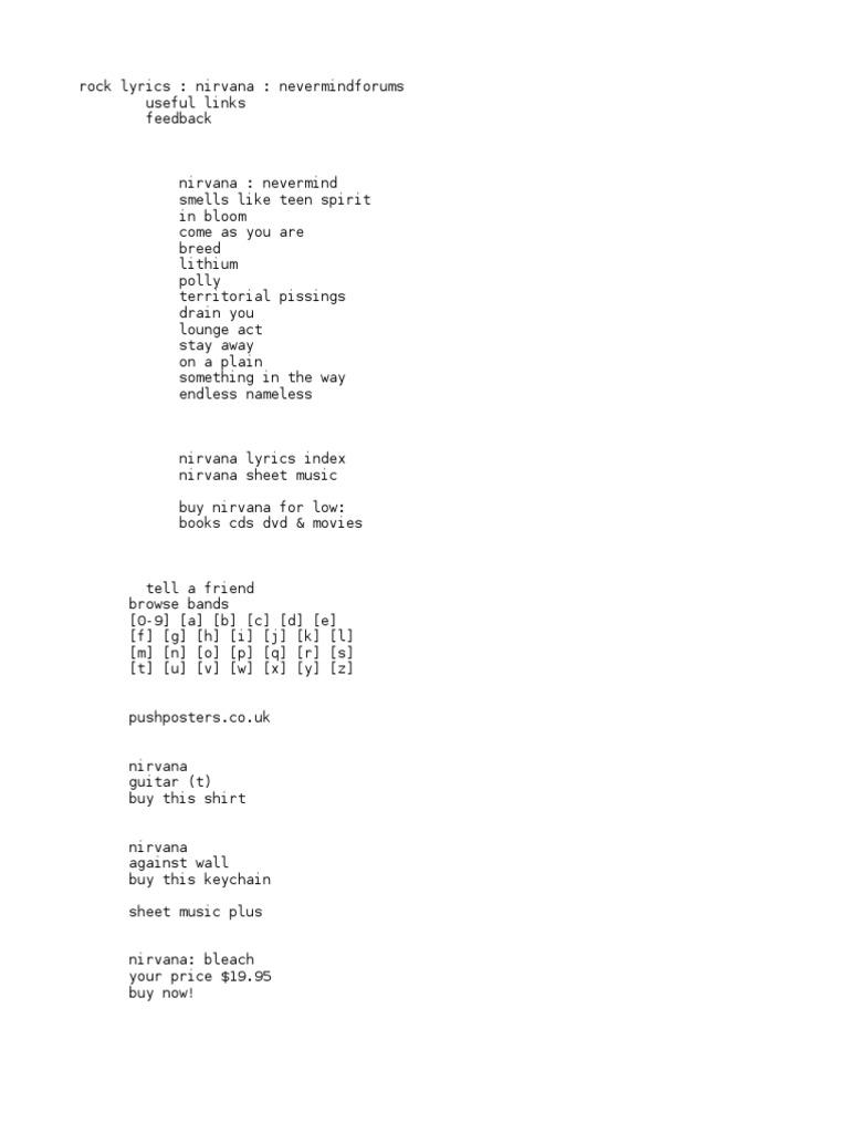Rock Lyrics Nirvana