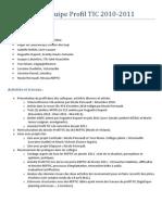 Réalisations 2010-2011 Équipe Profil TIC