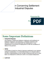 Settlement of Industrial Disputes