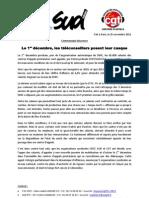 Communiqué de presse de l'intersyndicale CFDT / SUD / CGT