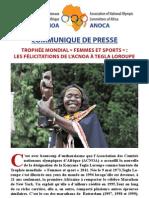 Communiqué de presse femmes et sport