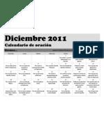 Calendario de Oracion para Diciembre 2011