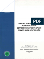 Manual de Evaluacion y Acreditacion de Establecimientos de Salud Primer Nivel de Atencion
