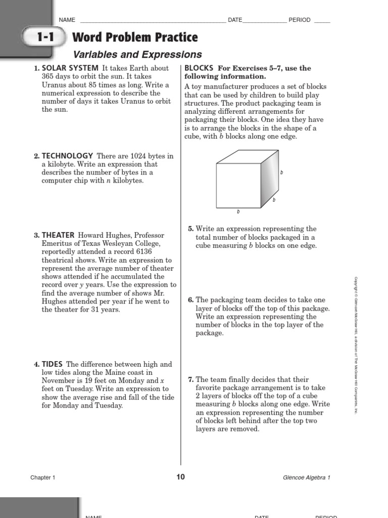 Worksheets Glencoe/mcgraw-hill Word Problem Practice Answers algebra word problems equations algebra