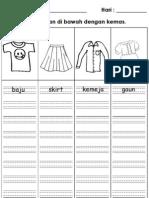 Latihan Menulis Nama Pakaian Empat Garis