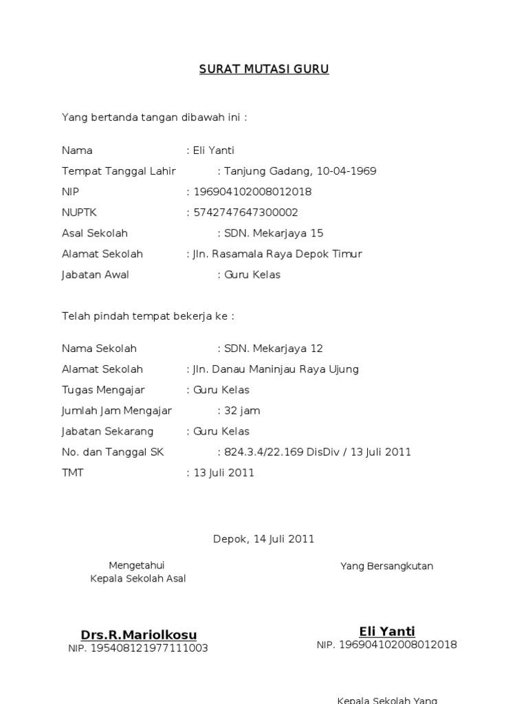 Contoh Surat Mutasi Insentif Guru Free Download Images