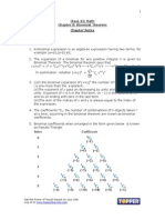 XI Math Ch8 Binomial Theorem Chapter Notes Nov