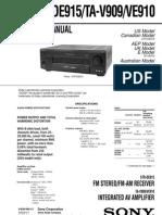SONY STR-DE915, TA-V909, VE910 SERVICE MANUAL VER 1.2 2003.07 (9-920-940-13)