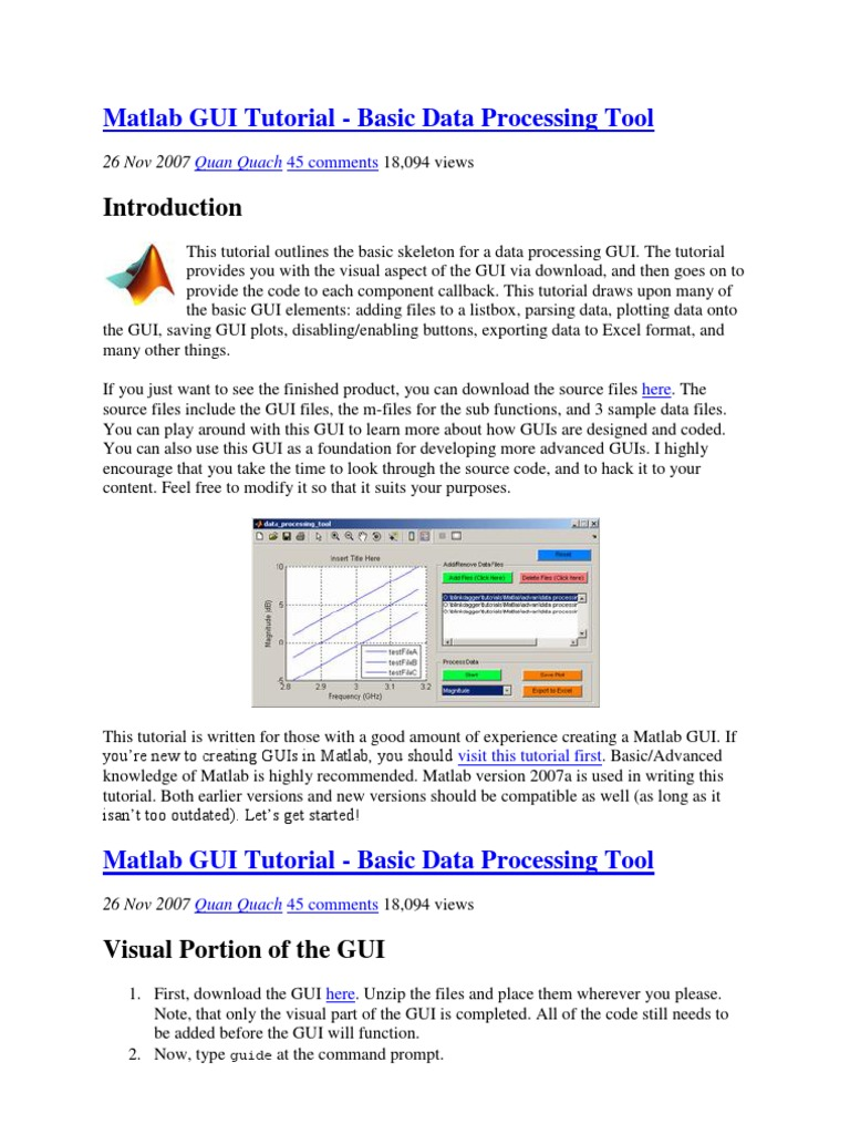 Matlab GUI Tutorial | Microsoft Excel | Graphical User
