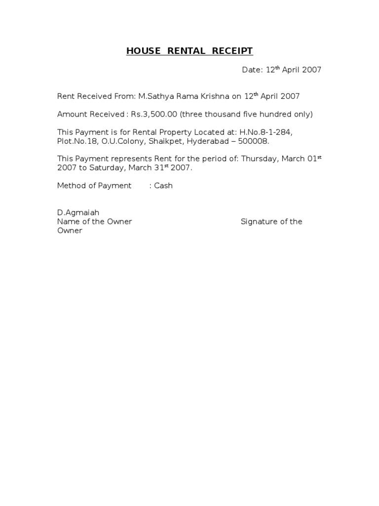 House Rental Receipt – Receipt of House Rent