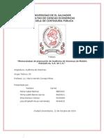 Memorandum de Planeacion de Auditoria Sistemas