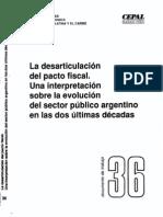 Desarticulación Pacto Fiscal Arg