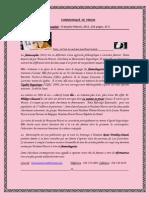Communiqué de presse,  La féminosophie,  F. Marois.