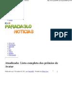 Lista completa dos prêmios de Avatar - Parada360 Notícias
