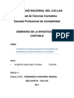 """""""SISTEMA DE COSTOS BASADOS EN ACTIVIDADES EN UNA EMPRESAS DE CONFECCIONES DE LA VICTORIA"""""""