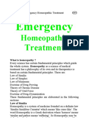 Emergency Homeopathic Treatment | Homeopathy | Alternative