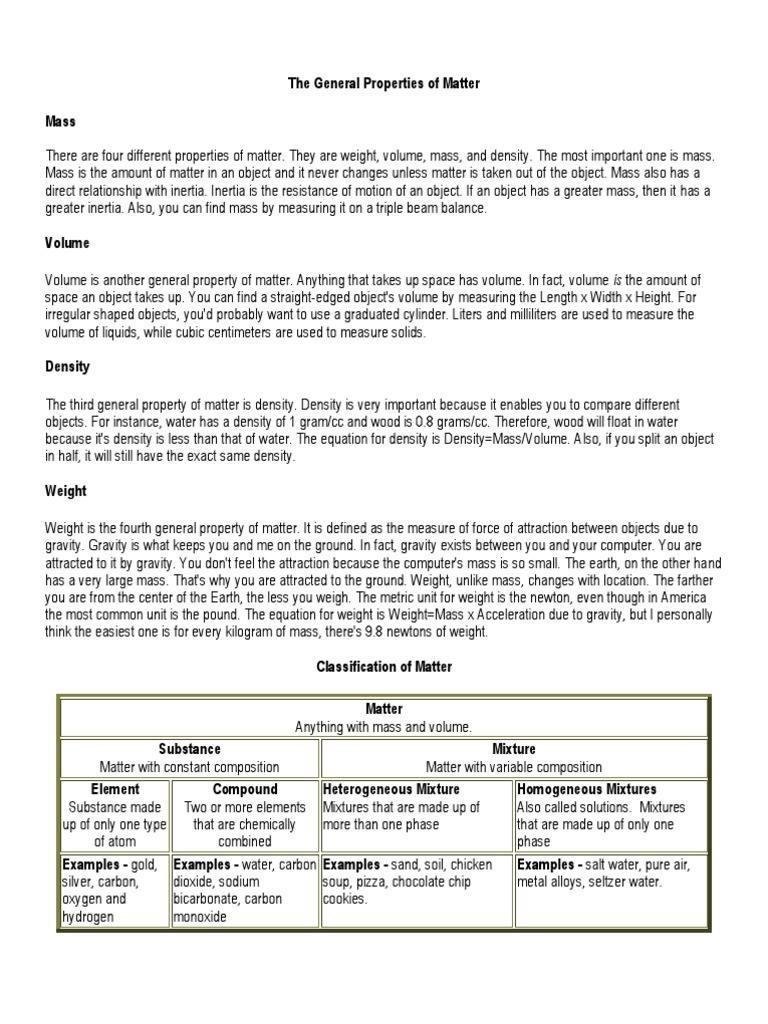 The General Properties of Matter | Solution | Mixture