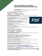 Liste Des Chambres de Commerce Et Associations Patronales