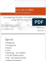 Investigating the Value of an MBA Education using NPV Decision Model