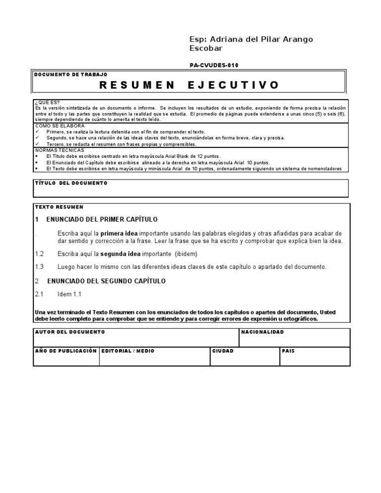 formato informe ejecutivo ejemplo - Winkd.co