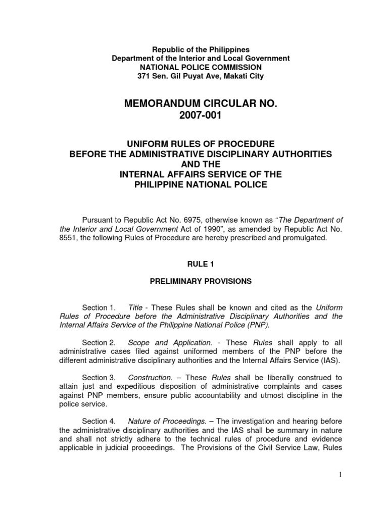 Napolcom Mc No 2007 001 Complaint Service Of Process 1518492579?vu003d1  Napolcom Mc No 2007 001. Memo Sample Template Doc Internal