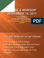 Praise & Worship Nov. 18,2011