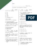 Lista de Problemas - Função Quadrática