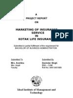 Marketing of Insurance Service in Kotak Life Insurance