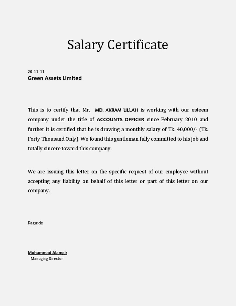 Monthly salary certificate insrenterprises yadclub Image collections