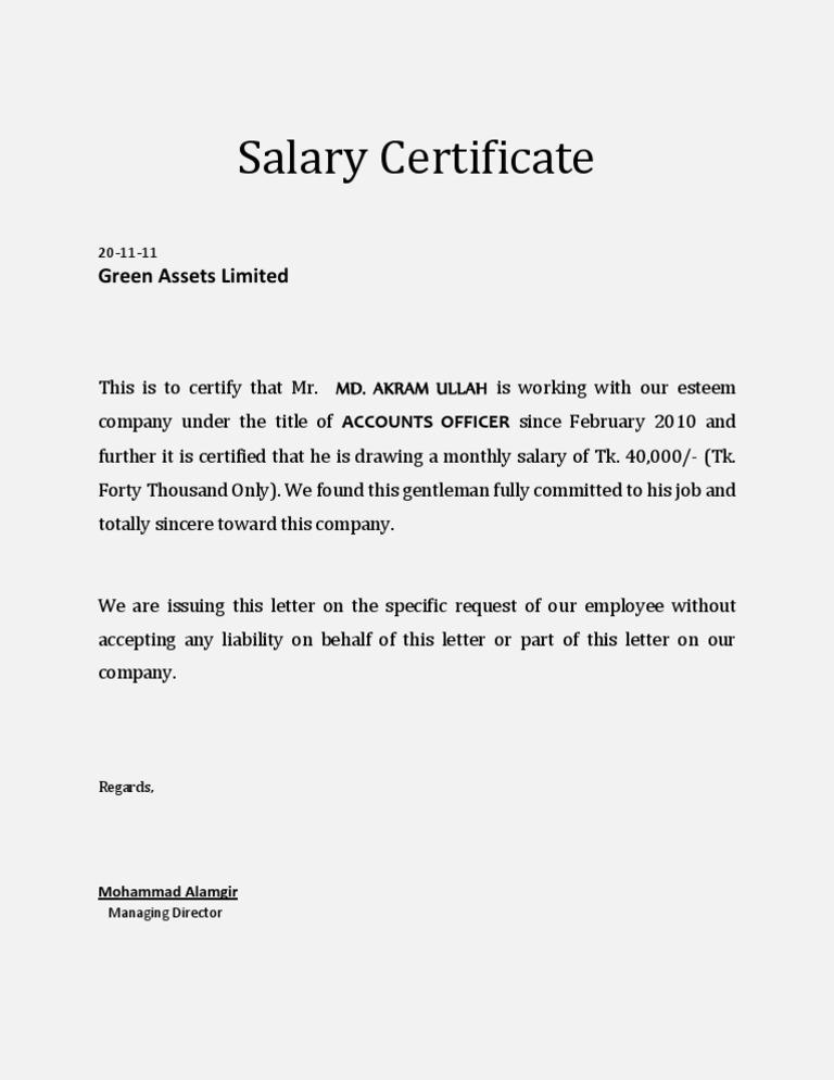 Salary Certificate Template
